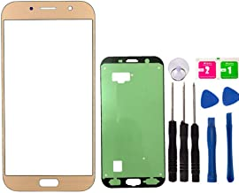 Replacement Screen Repair Front Outer Top Glass Lens Cover for Samsung A7 2017 A720F Mobile Phone Parts and Adhesive Tools (No LCD and Touch Digitizer) (Gold)