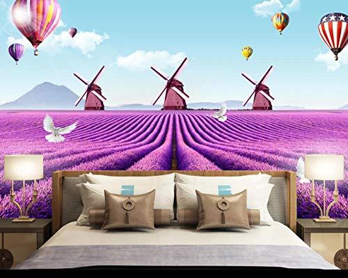 Fotobehang 3D Lavendel heteluchtballon muurschilderijen vliesbehang wandschilderij Wall Mural Wallpaper modern design wanddecoratie voor slaapkamer woonkamer kinderkamer 140 cm x 100 cm.