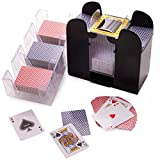 Ultimate Card Game Essentials Bundle - 6 Deck Battery-Operated Automatic Electric Card Shuffler + 12 Decks Standard Index Poker Playing Cards + 9 Deck Rotating Acrylic Card Tray Accessory Set