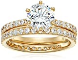 Yellow-Gold Plated Sterling Silver Round Ring Set made with Swarovski Zirconia (1 Carat Center Stone), Size 8