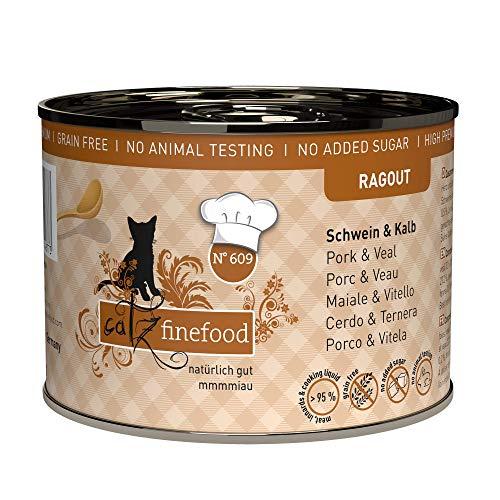 catz finefood Ragout N° 609 Schwein & Kalb Katzenfutter nass - Feinkost Nassfutter für Katzen in Sauce ohne Getreide und Zucker mit hohem Fleischanteil, 6 x 180 g Dose