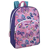 """Trail maker Kids Character Backpacks for Boys & Girls, 15"""" Backpack with Adjustable, Padded Back Straps (Butterflies)"""