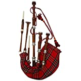 AAR Scottish Bagpipe Rosewood Royal Stewart Tartan Natural Color with Silver Plain Mounts Free Tutor Book, Carrying Bag, Drone, Reeds(USA)