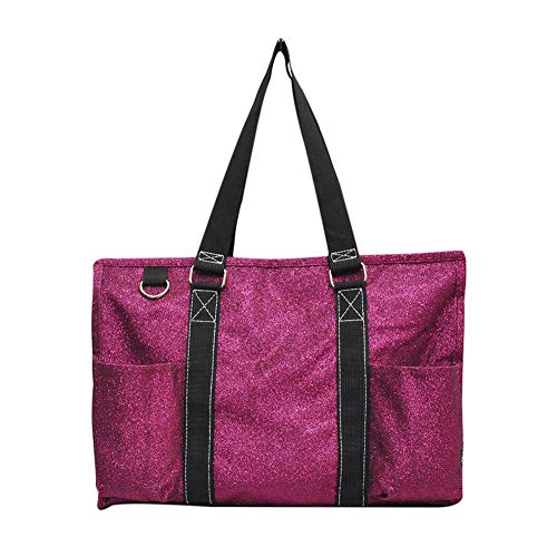 NGIL All Purpose Organizer Medium Utility Tote Bag 2018 Fall Collection (Glitter Hot Pink)