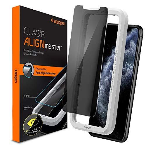 Spigen AlignMaster Panzerglas kompatibel mit iPhone 11 Pro, iPhone XS, iPhone X, Privacy Schutz, Kratzfest, 9H Härte Schutzfolie