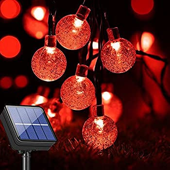 COHOYA Solar String Lights Upgraded 50ft 100 LED Crystal Globe Ball String Lights Outdoor Waterproof & 8 Modes Twinkle Starry Lighting for Patio Garden Porch Yard Party Wedding Decoration  Red