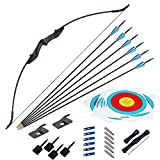 SPG Archery Youth Recurve Bow Hunting Long Bow Set for Beginner Teenagers Right Left Hand Black - Draw Weight 20lbs 30lbs 40lbs (20LB)