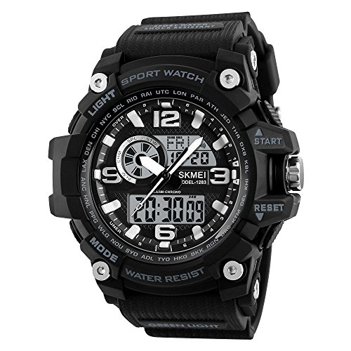 KXAITO Men's Watches Sports Outdoor Waterproof Military Watch Date Multi Function Tactics LED Alarm Stopwatch (13_Black)