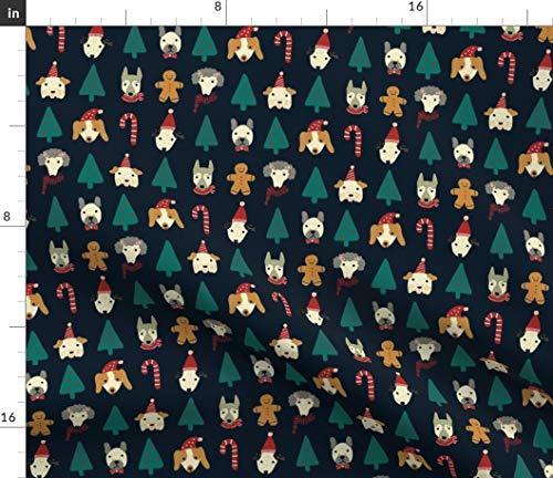 Weihnachten, Hund, Hunde, Lebkuchenmann, Weihnachtsbaum Stoffe - Individuell Bedruckt von Spoonflower - Design von Lemonni Gedruckt auf Bio Baumwollsatin