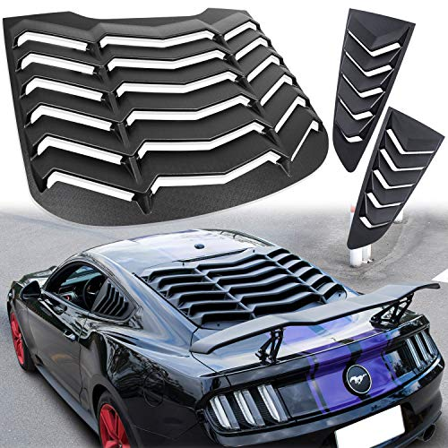 Rear+Side Window Louver Windshield Sun Shade Cover GT Lambo Style for Ford Mustang 2015 2016 2017 2018 2019 2020 2021 (Matte Black)