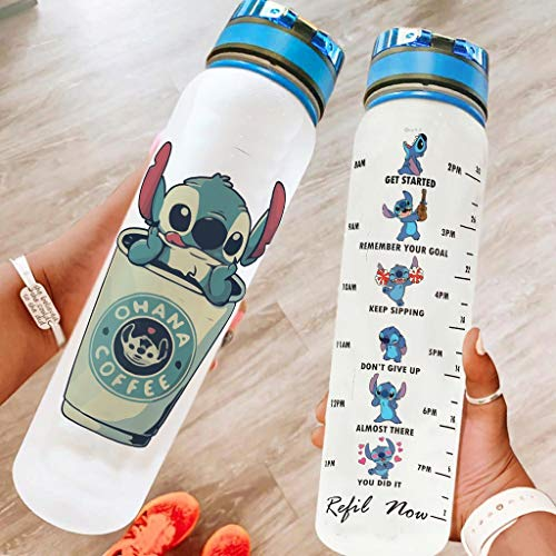 Pandro Ohana Coffee Stitchy Botella de agua de 32 onzas Tritan portátil reutilizable botella de gimnasio para actividades al aire libre, senderismo, camping, viajes, color blanco 1000 ml