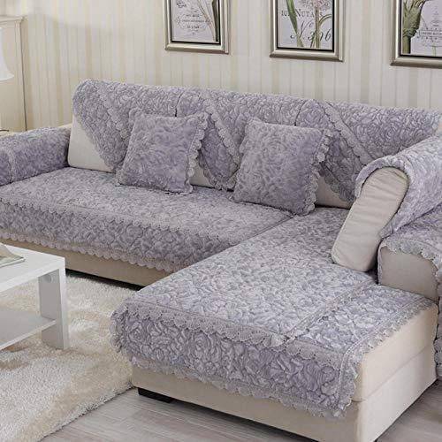 HXTSWGS Funda de sofá de Felpa Gruesa, Fundas de Toalla, sofás con Chaise Longue, Fundas de sofá de Esquina para Sala de Estar, Antideslizante, Gris_W90xL210cm