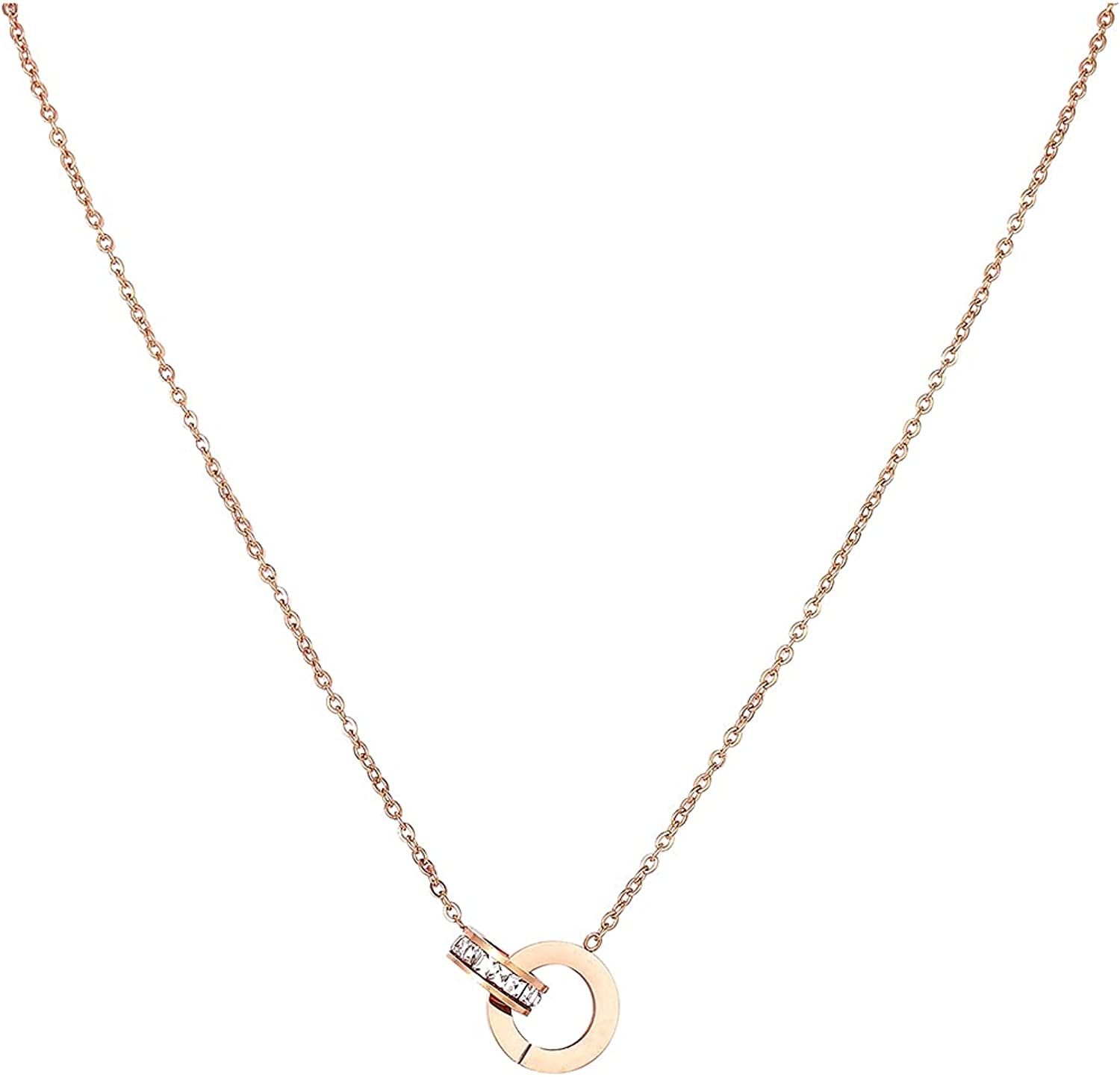HYMUS Personalized Necklaces for mart Women 18K Silver Dainty Go Limited price Rose