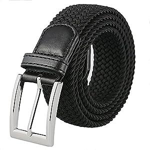 Weifert Men's Stretch Woven 1.3″Wide Elastic Braided Belts