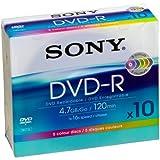 Sony DMR 47 SLX Color - DVD-R en Blanco (Velocidad 8X, 4,7 GB, Ultrafino, 10 Unidades)