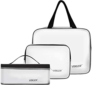 TSA Approved Toiletry Bag, VBG VBIGER Transparent Cosmetic Bag with Zipper Travel Pouch, Clear Travel Size Cosmetic Makeup Bags, Packing Cube