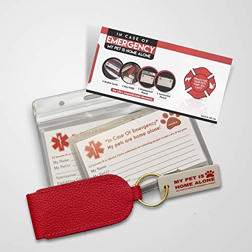 OFTO ICE Kit (4) Wallet-Sized in Case of Emergency Contact Cards, 2'My Pet is Home Alone Key Fobs, a Waterproof Pouch & Self-Sealing Laminated Pouch- Use as Personal, Family, Pet Care Cards USA Made