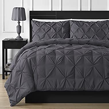 Double Needle Durable Stitching Comfy Bedding 3-piece Pinch Pleat Comforter Set All Season Pintuck Style (Queen, Grey)