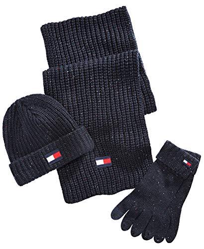 Tommy Hilfiger Herren Beanie, Scarf and Glove Winterzubehör, Set, schwarz, Einheitsgröße