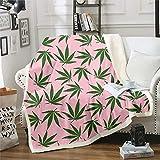 Marijuana Leaf Plush Blankets Cannabis Leaves Fleece Throw Blanket Pink Marijuana Weed Leaf Botanical Plush Blankets and Throws Green Plants Hemp Fuzzy Blanket for Bed Sofa Couch