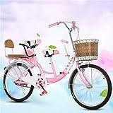 Hörsein 22 Pulgadas de Bicicletas Alquiler de Coches de Padre-Hijo Madre e Hijo de Dos plazas Puede Llevar a los niños Unisex de la Bicicleta,B
