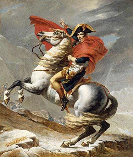 Spiffing Prints Jacques Louis David - Bonaparte franchissant le Grand Saint - Medium - Archival Matte - Brown Frame