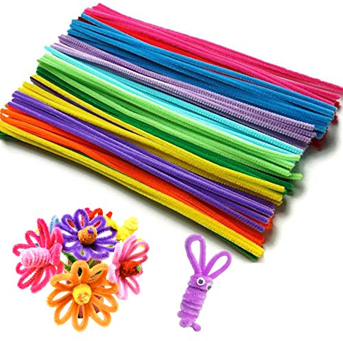 QH-Shop Pfeifenreiniger, Chenilledraht Bunte Pfeifenputzer für Kinder zum Basteln und Dekorieren 6mm*30cm 200 Piece