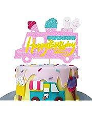 Ice Cream Happy Birthday Cake Topper Summer Theme Party Ice-Cream Van Dessert Cake Decor for Baby Shower Baby Decoration Supplies