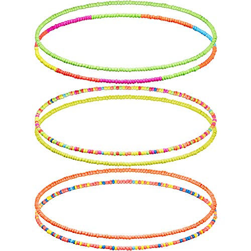 Neon Elastische Taille Perlen 6 Stück Bauch Perlen Bunte Körperkette Afrikanische Taille Bauchkette Bikini Halskette Armband Fußkettchen Schmuck für Frauen Mädchen, 6 Stile