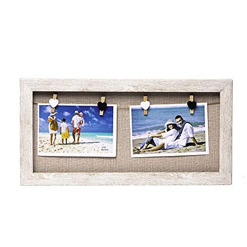 Marco para Colgar Fotos sin Cristal de 40 x 20 cm con 4 Pinzas de Madera (Beige Fondo Yute)