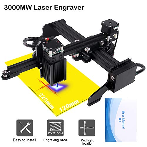 3000mw Upgrade Laser Engraver CNC Engraving Machine DIY Pro Engraver Router Printer Supporting Computer/Offline/Bluetooth Control for Handicraft Wood Desktop cenoz (JTL2 Working Area : 225mm x120mm)