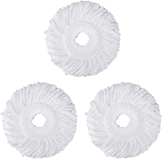 3 Replacement Mop Micro Head Refill Hurricane for 360° Spin Magic Mop-Microfiber Replacement Mop Head-Round Shape Standard Size (3 Pack-White)