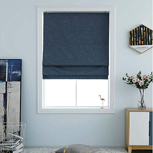Washable Room Darkening Cordless Roman Shades for Windows, Double Tone Color Jacquard Textured Woven Polyester Belmar Roman Blind for Living Room/Office/Bedroom 33' W × 64' L Indigo Blue