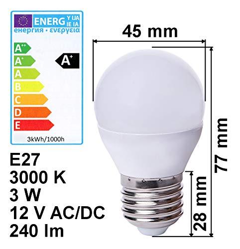edi-tronic LED Lampe E27 12V 3W A+ warmweiß 240lm 3000K Birne Energiesparlampe 12 Volt Licht