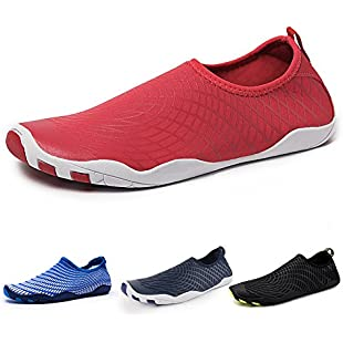 IceUnicorn Water Shoes Mens Womens Quick Dry Sports Aqua Shoes Unisex Swim Shoes with 14 Drainage Holes for Swim,Walking,Yoga,Lake,Beach,Garden,Park,Driving,Boating(Red-JY,7UK/41EU)