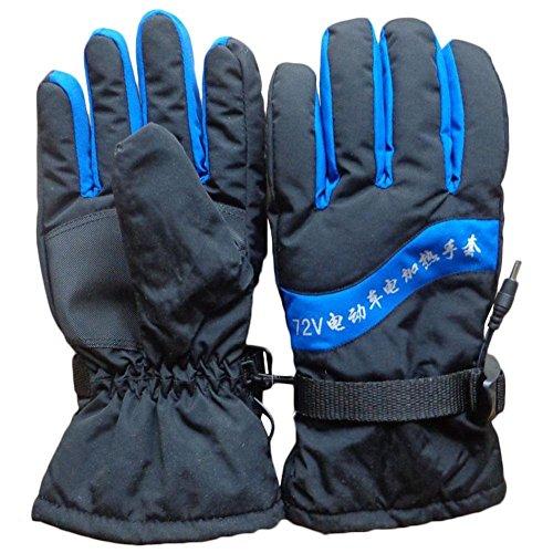 BRLIGE verwarmde motorhandschoenen, 72 V, warme handschoenen voor winter, outdoor, jacht, skiën, waterdicht en winddicht 28 cm Black + saffier blue.
