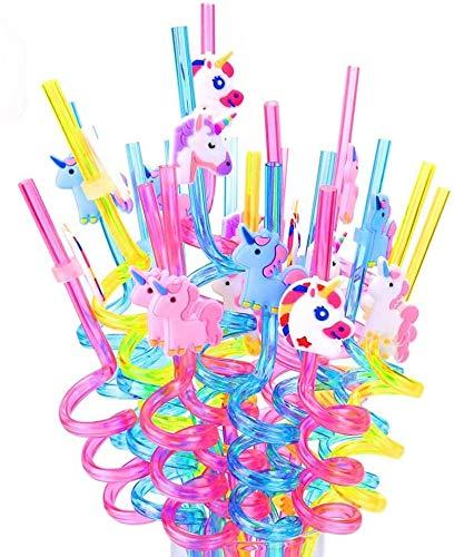 20 PCS Unicornio Pajitas ,Pajitas de con Diseño de Unicornio para Fiestas,piezas Pajitas de Reutilizable, la Fiesta de Navidad, la Decoración de la Mesa de la Fiesta Familiar