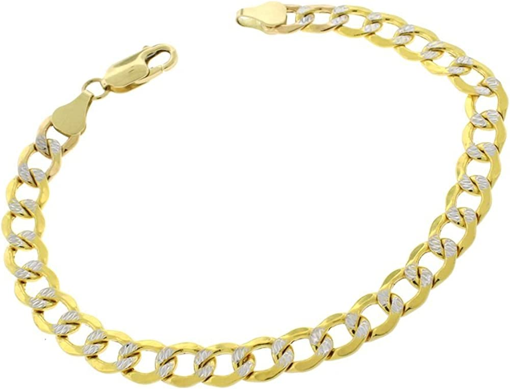 14K Yellow Gold 3.2mm, 5mm, 5.5mm Heavyweight Cuban Curb Diamond Cut Pave Chain Necklace or Bracelet