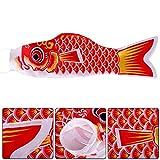 1X Toruiwa Japanische Karpfen Fahne Hanging Flag Fächer fisch Wind Streamer Koinobori Windsack 70cm (Rot)