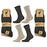 Go With Collection 4 Paar Alpaka Socken für Damen und Herren Kuschelsocken dicke Wintersocken warme und flauschige Stricksocken Wollsocken