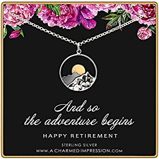 Retirement Gift for Women • 925 Sterling Silver • Large Mountain Charm Necklace • Service Appreciation Jewelry • Friend Teacher Nurse Work Colleague • And so the Adventure Begins