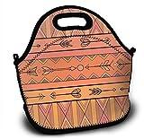 Mochila de neopreno para niños, diseño geométrico, color naranja, con flechas, con correa de hombro ajustable