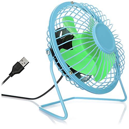 com-four® USB Tischventilator, leiser Mini-Ventilator für Büro und Schreibtisch, Cooler Standventilator in sommerlich frohen Farben (blau grün)