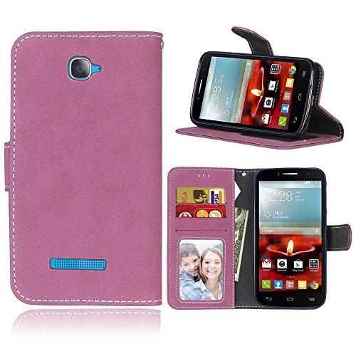 FUBAODA One Touch Pop C7 Hülle,[Hautfre&lich][Wildleder] Flip Leder Money Brieftasche,Klassiker,Ständer,Handyhülle Phone Tasche Hülle für Alcatel One Touch Pop C7(Rosen-Rot)