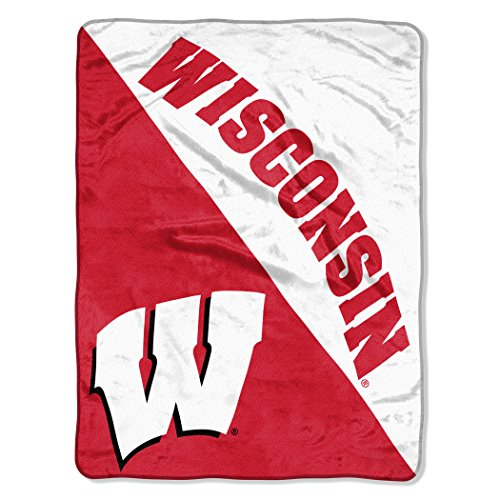 "The Northwest Company Wisconsin Badgers ""Halftone"" Micro Raschel Throw Blanket, 46"" x 60"" , Red"