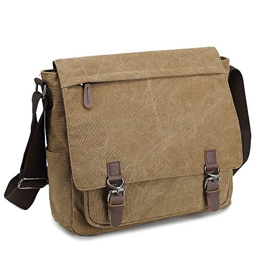 Messenger Bag for Men and Women, Retro Canvas Shoulder Bag Satchel For College fit 13.3 Inch Laptop (Coffee)