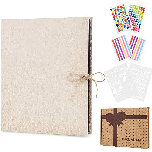 ThxMadam Lino Album Foto Scrapbooking Fai da Te retrò Album Fotografico Libro degli Ospiti di Nozze con 60 Pagine Nere per San Valentino Giorno Anniversario Compleanno Natale Regalo per Donna Uomo
