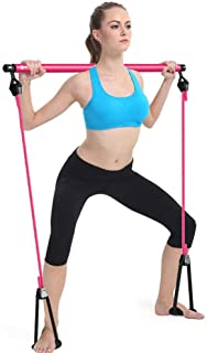 Multifunctional Pilates Resistance Band and Toning Bar Home Gym, Abdomen Chest Expander Arm Puller, Portable Total Body Wo...