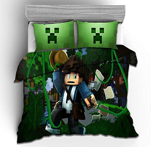 Meiju Duvet Cover Set for Boy Girl Single Double King Bed, 3D Printed Teenager Children Kids Bedding Set with Microfiber Zipper Quilt Case & Pillowcases (Minecraft Wiki 7,220x240cm)