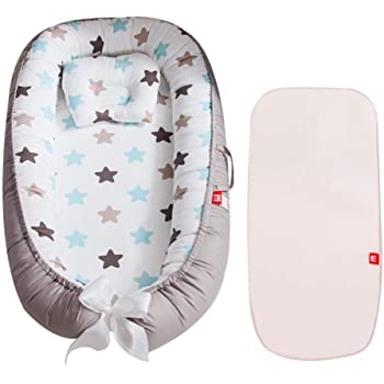 Multifonctionnel Baby-Nest Nid Pour B/éb/é nourrisson respirant Cocon R/éversible 2-verso ocon Oeko-Tex Lisse C/œur 100